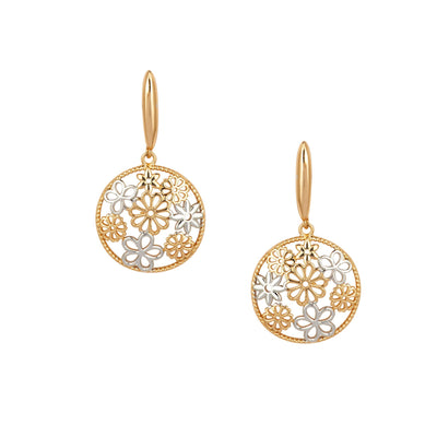 Two Tone Floral Earrings Finished in Rhodium and 18ct Gold - Love & Lilly