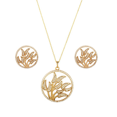 Living Floras Set 18ct Gold Finish with Fine Crystal Details. - Love & Lilly
