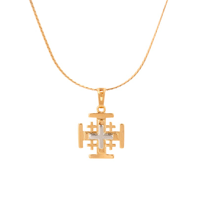 Unisex Gold and Rhodium Cross Pendant - Love & Lilly
