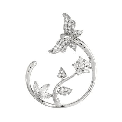 Arts and Crafts Inspired, Crystal Encrusted Rhodium Broach - Love & Lilly