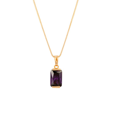 Beautiful Cut Cubic Zirconia and Gold Pendant - Amethyst Purple