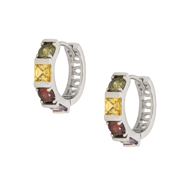 Elegant mid size Hoops in non tarnishing Rhodium with AAA Crystals in Amethyst, Peridot and Citrine. - Love & Lilly