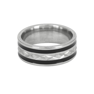 Men's Ring in Rhodium and Black Enamel - Love & Lilly