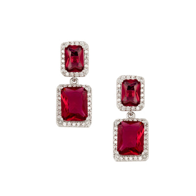 Elegant Cubic Zirconia and Rhodium Drop Earrings - Love & Lilly
