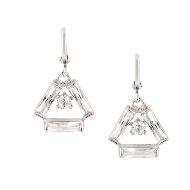 Shimmering Deco Inspired Drop Earrings - Clear - Love & Lilly