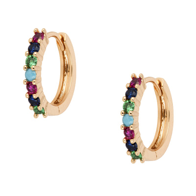 Small Fine Crystal Encrusted 18ct Gold Hoops - Love & Lilly