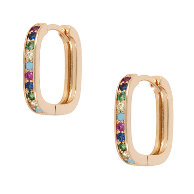 Smart 18ct Gold and Multicoloured Crystal Square Huggies