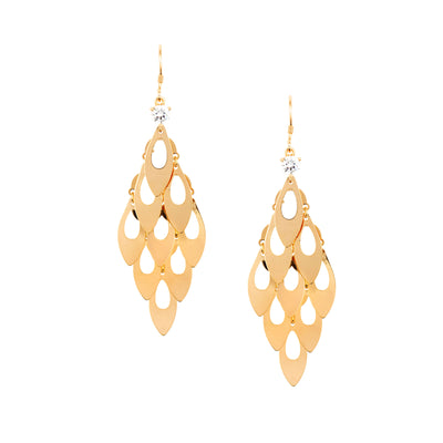 Flowing 18ct Gold Panel Earrings - Love & Lilly