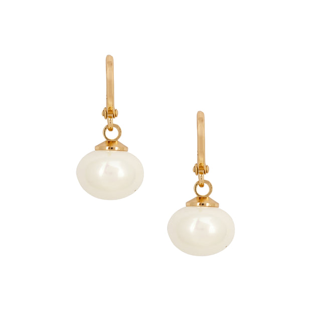 Baroque Inspired Faux Pearl and Gold Drop Earrings - Love & Lilly