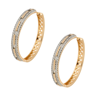 Gold and Cubic Zirconia Inlaid Hoop Earrings - Love & Lilly
