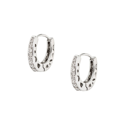 Rhodium and Crystal Hoop Earrings - Love & Lilly