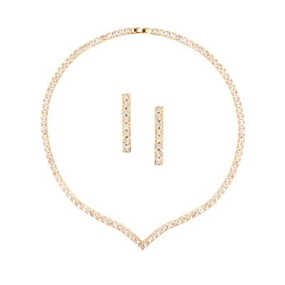 Chic Simplicity, Baguette Cut V shaped Crystal Set - Love & Lilly