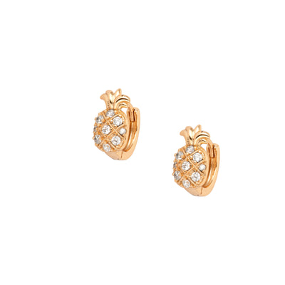 Adorable Crystal Encrusted Pineapple Earrings - Gold - Love & Lilly