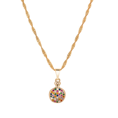 Danity Multicoloured Crystal 18ct Gold Pendant - Love & Lilly