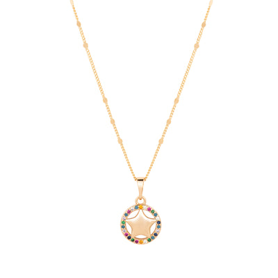 18ct Gold Star with Fine Multicoloured Crystals - Love & Lilly