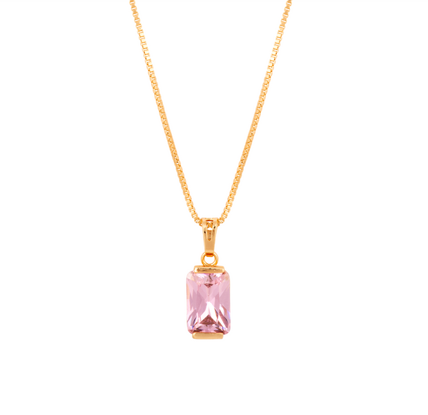 Beautiful Emerald Cut Cubic Zirconia and Gold Pendant - Tourmaline Pink