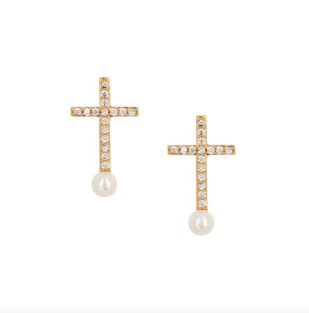 Crystal Encrusted Cross Earring - Gold
