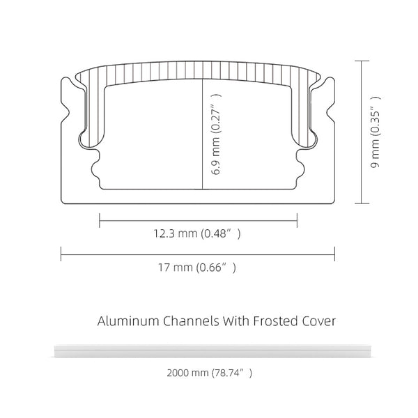 2M 6.6FT Surface Mounting LED Aluminium Profile Frosted Diffuser for Max 12mm Width LED Strip
