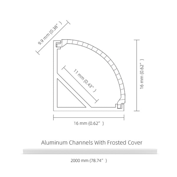 2M 6.6FT Corner LED Aluminum Channel Complete Set