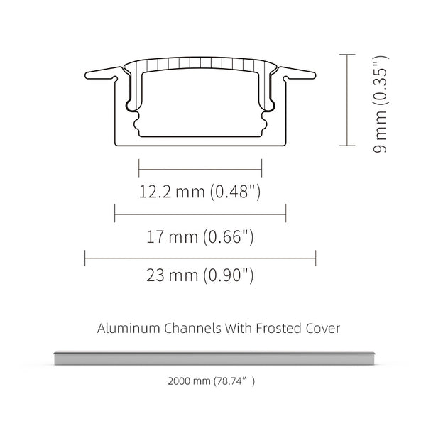 2M 6.6FT Recessed Aluminium Profile Frosted Diffuser for Max 12mm Width LED Strip