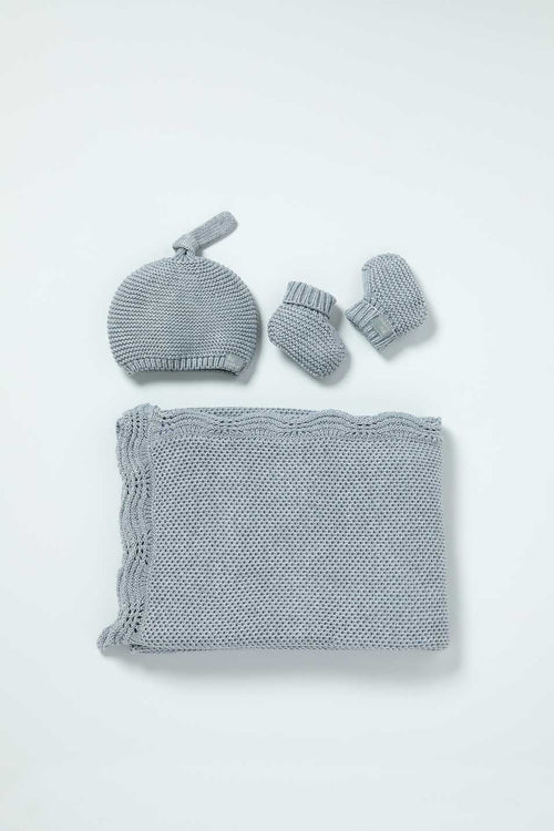 Flat lay photo of Little Bamboo Knitted Gift Set Marle Grey