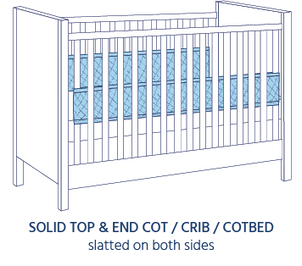Airwrap Cot Liner 2 side and 4 side products are good to use in a Solid top and End Cot/Crib/Cotbed