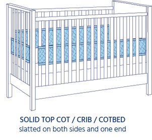 Airwrap Cot Liner 4 side products are good to use in a Solid top Cot/Crib/Cotbed