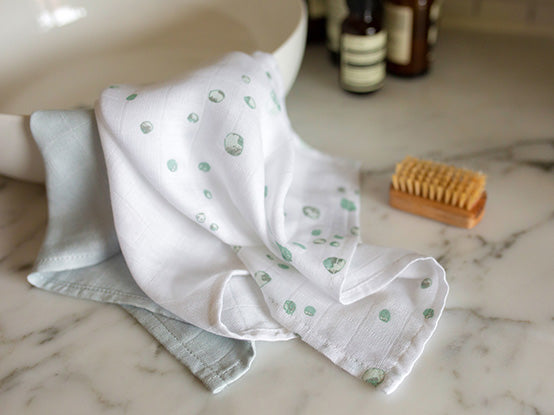 Little Bamboo Baby Muslin face washer Whisper placed on the sink