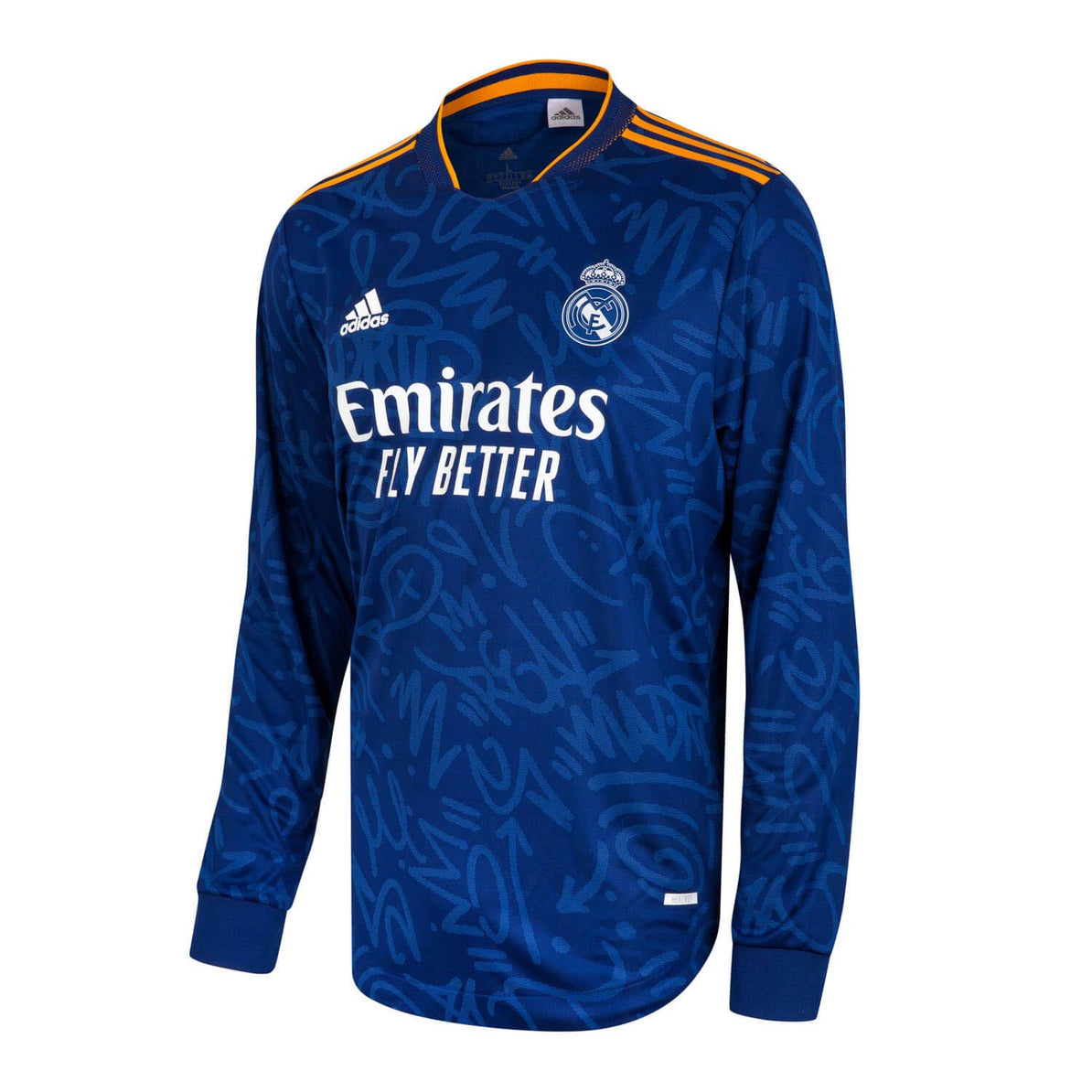 Real Madrid Mens Away Authentic Long Sleeve Shirt 21/22 Blue ...