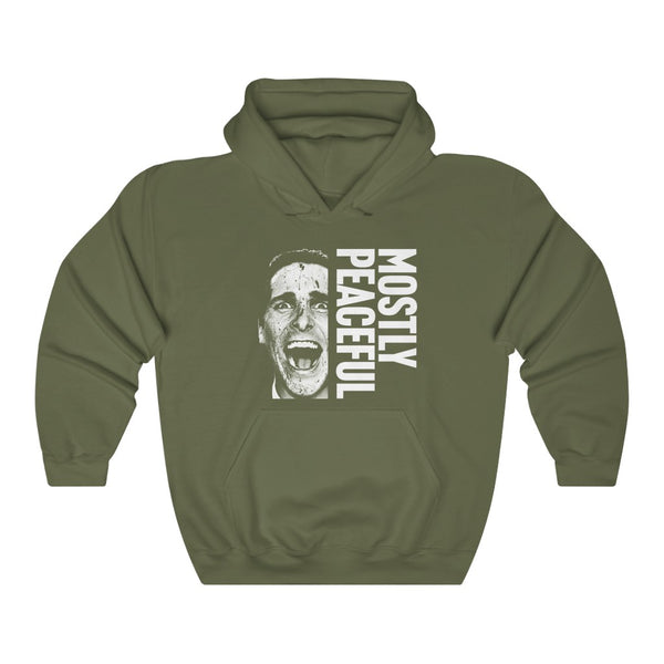 Mostly Peaceful American Psycho Christian Bale Patrick Bateman Unisex Heavy Blend™ Hooded Sweatshirt