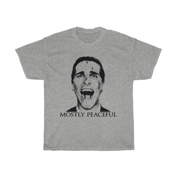 Mostly Peaceful American Psycho Christian Bale Patrick Bateman Unisex Heavy Cotton Tee T-shirt