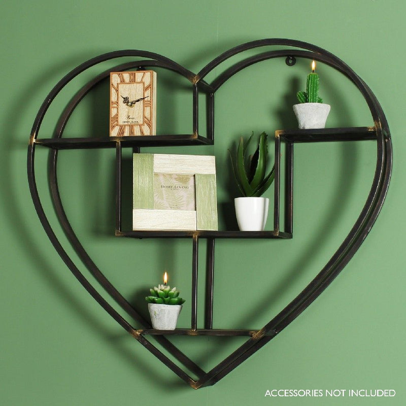 Metal heart shelf/wall decoration