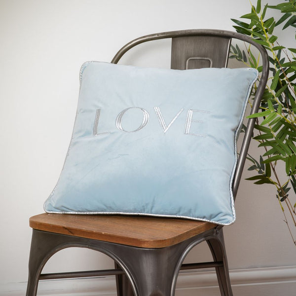 Velvet love cushion pastel blue