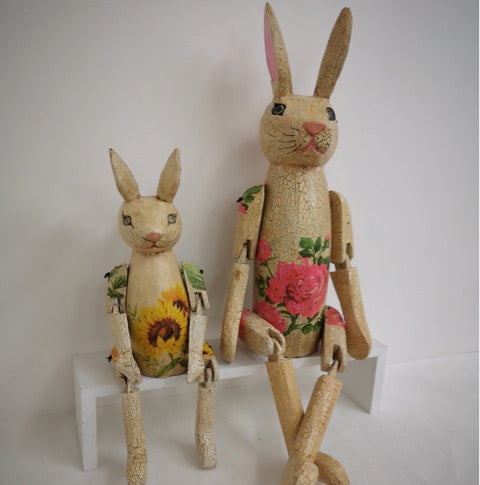 Decoupage Crackle Rabbit Shelf Sitter 50cm