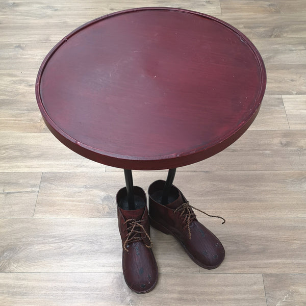 Boots side table distressed red