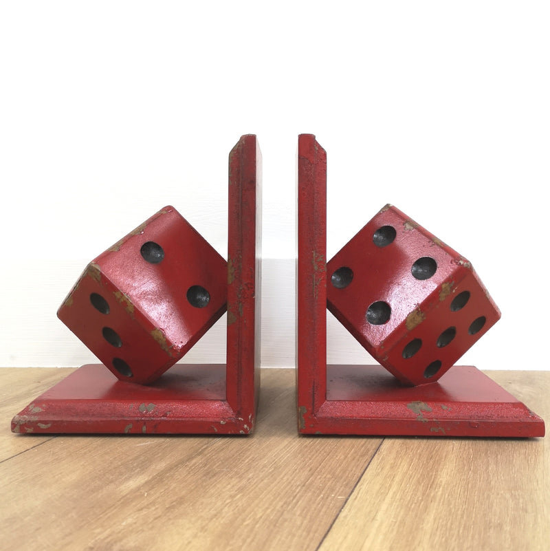 Red dice Pair of Book Ends