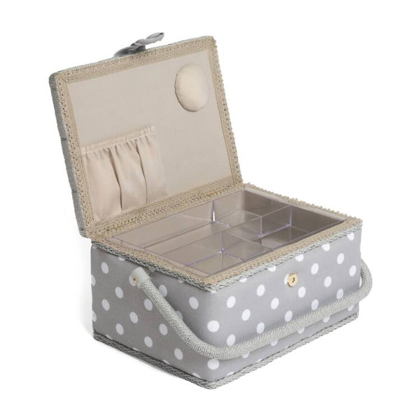 Grey Spotty Sewing Storage Box