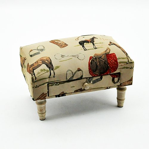 Equestrian footstool with drawer
