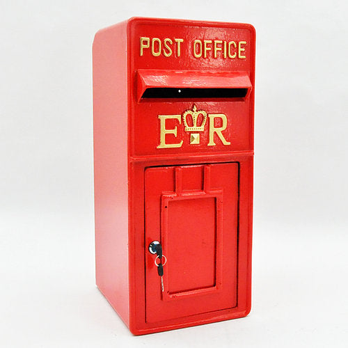 Red lockable postbox 60cm
