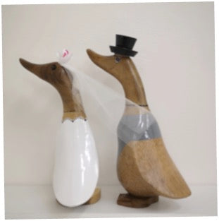 Wooden Pair Of Wedding Ducks Small