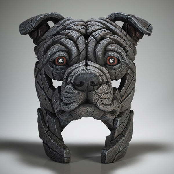 Staffordshire bull terrier bust (blue) Edge Sculpture