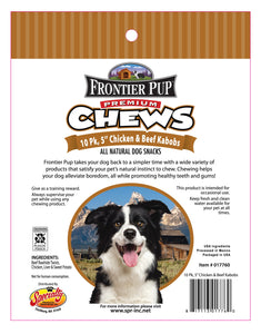FRONTIER PUP CHEWS - 5'' Chicken, Liver & Sweet Potato Kabobs 10-Pk