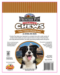 FRONTIER PUP CHEWS - 5'' Chicken and Rawhide Twists 15-Pk, $6.50 Bag (Cs: 6 Bags)