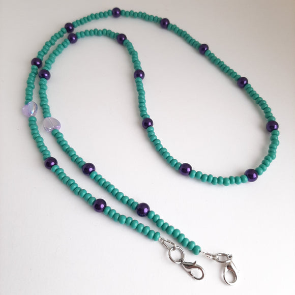 Turquoise and purple pearl mask chain