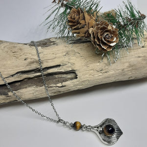 Tigers eye leaf necklace