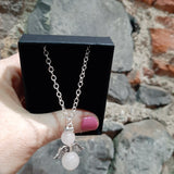 Rose Quartz angel necklace