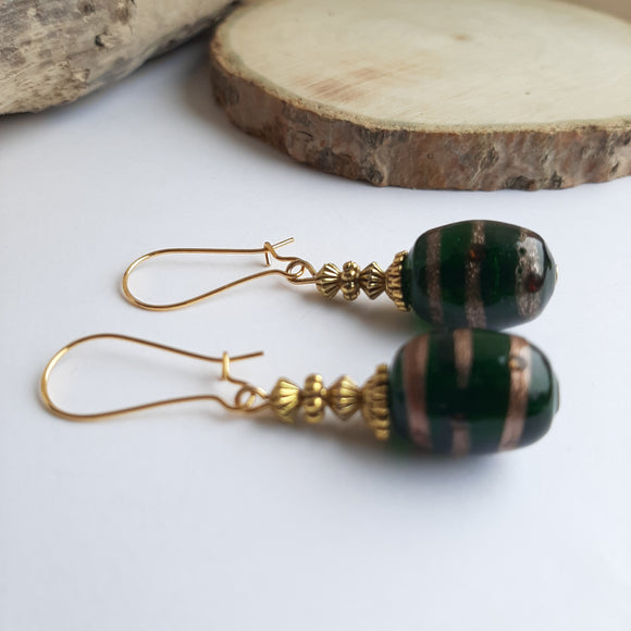 Green barrel earrings