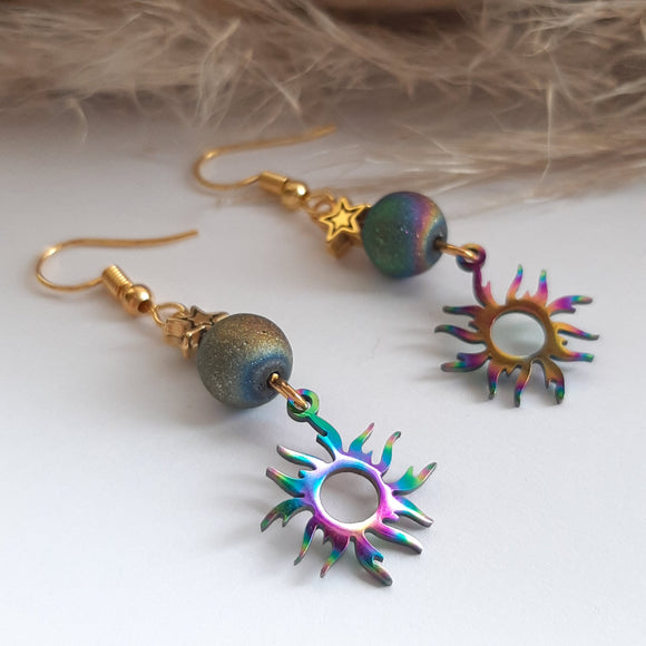 Coloured sunbeam earrings