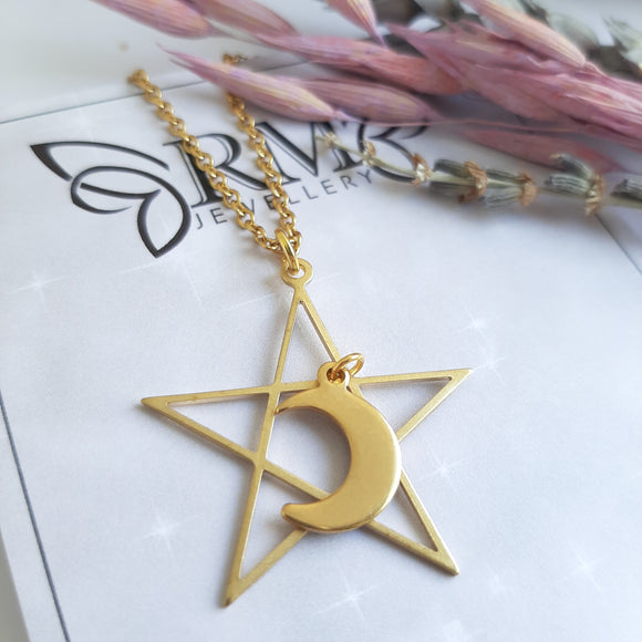 Star and moon gold necklace