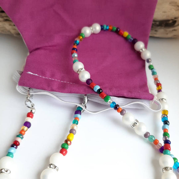 Multi coloured face mask chain